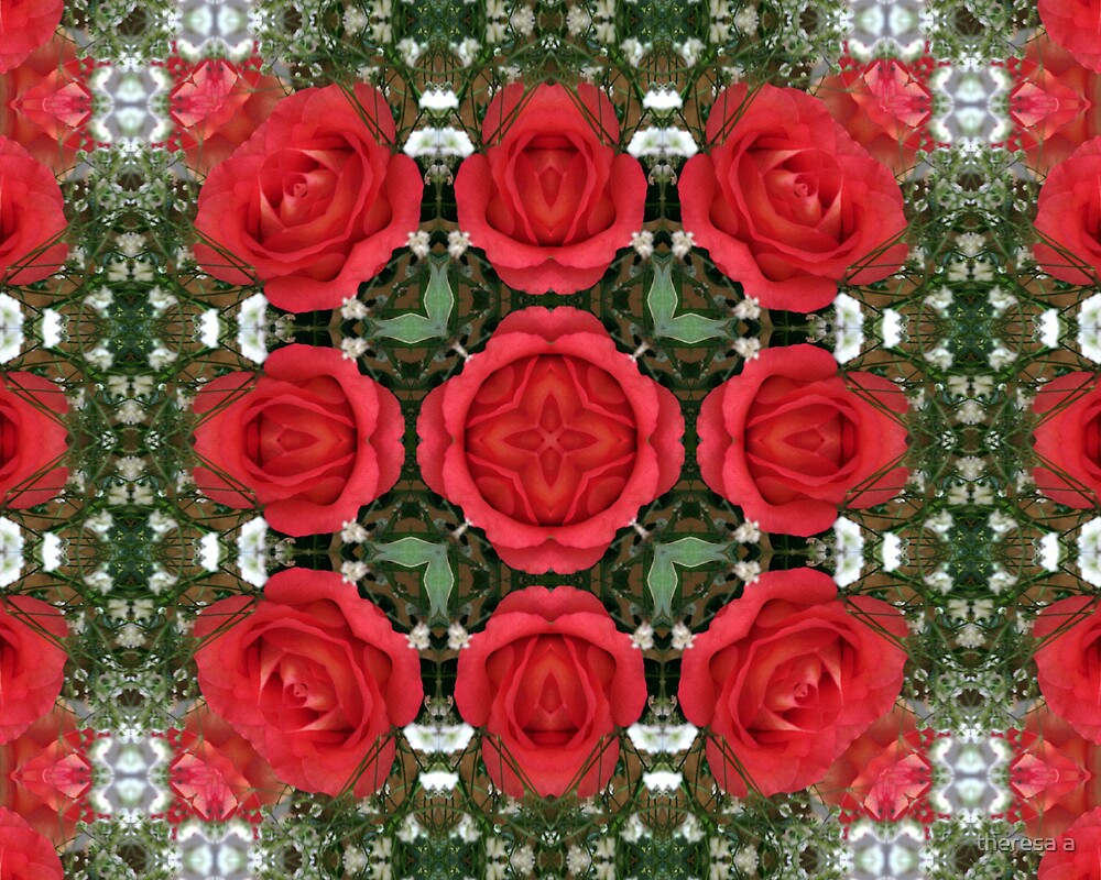 A RED ROSE KALEIDOSCOPE  by theresa a