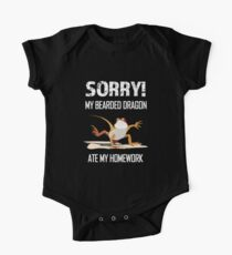 Sorry my Bearded Dragon ate my homework funny kids shirt One Piece - Short Sleeve