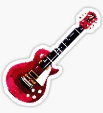 Pixelized Red Guitar Sticker