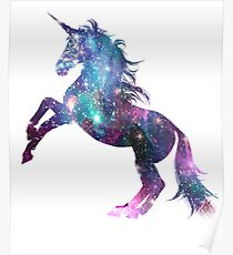 Fantastischer Regenbogen-Einhorn-Galaxie-Schein-Stern Poster