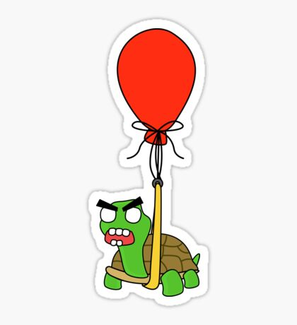 angry zombie turtle on an adventure Glossy Sticker