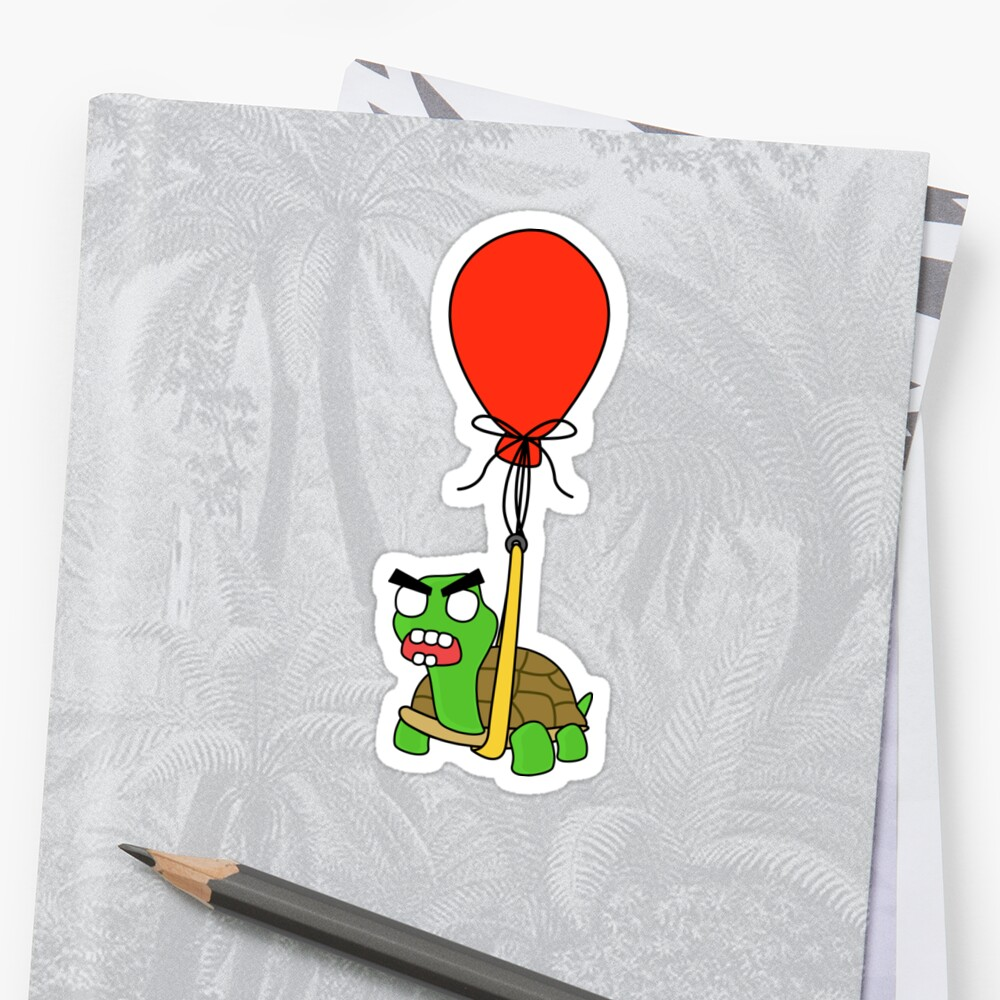angry zombie turtle on an adventure Sticker