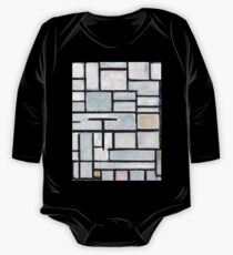 Mid Century Modern Abstract White and Pink and Baby Blue Piet Mondrian Composition 6  One Piece - Long Sleeve