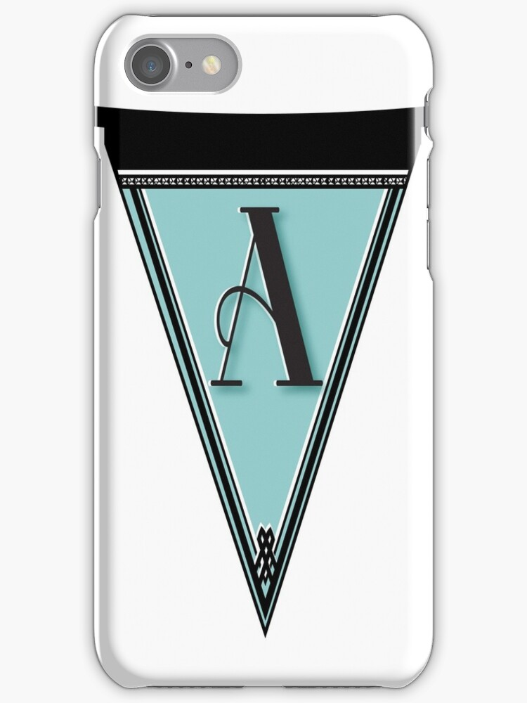 Pennant Deco Blues Monogram  … initial A by CecelyBloom