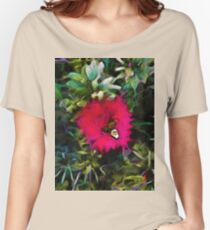 Pink Red Flower with Green and Grey Leaves Women's Relaxed Fit T-Shirt