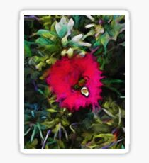 Pink Red Flower with Green and Grey Leaves Sticker