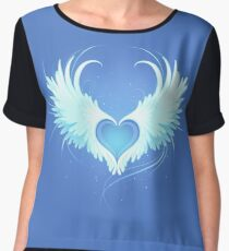Angel Heart on Blue Background Chiffon Top