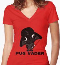 Pug Vader  Women's Fitted V-Neck T-Shirt