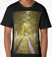 Alley of autumn birches Long T-Shirt