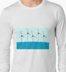 Offshore-Windpark mit Fisch-Baumschule um Basis. Langarmshirt