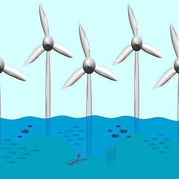 Offshore wind farm with fish nursery around base.  by funkyworm