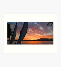 silhouette of two sails with a view of the opposite bank of the Nile at Luxor Art Print
