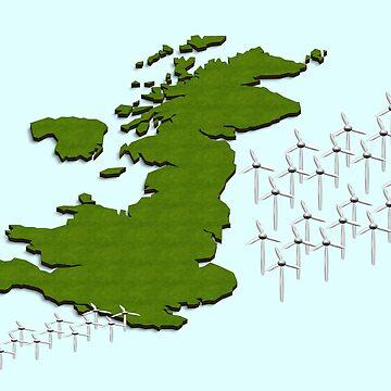 wind turbines off the coast of the British Isles. by funkyworm