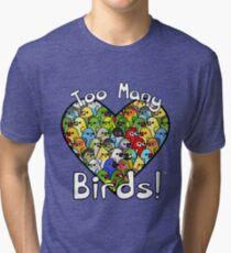 Zu viele Vögel! Vogelkader 1 Vintage T-Shirt
