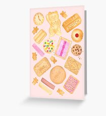 Assorted Biscuits - Pink Greeting Card