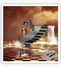 Cute girl dancing on a piano on the beach Sticker