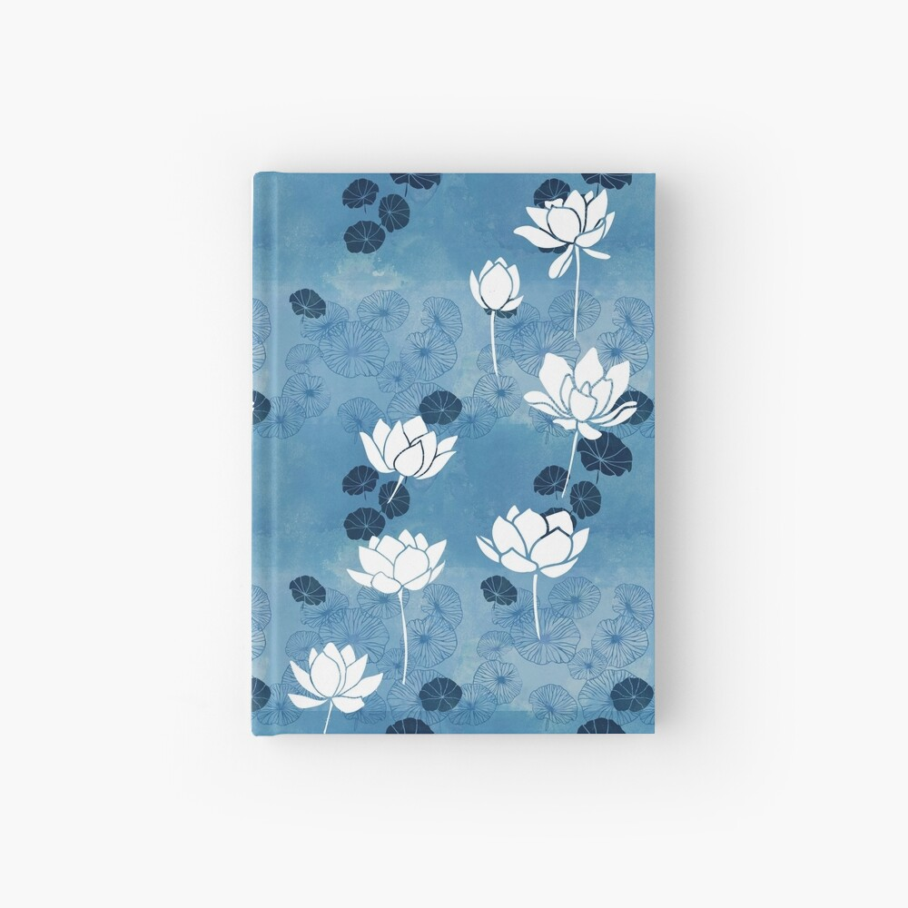 Pure zen waterlily pattern in blue and white Hardcover Journal