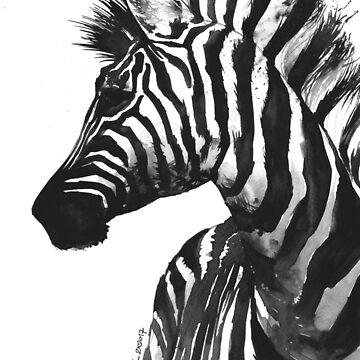 Zebra head - watercolor art by kkmiecikart