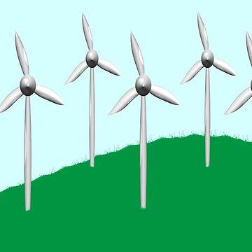 Wind farm on a hill by funkyworm