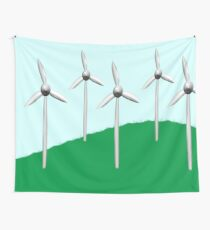 Wind farm on a hill Wall Tapestry