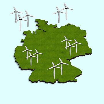 Wind turbines  German coast and on land. Windenergie, , Windkraft . by funkyworm