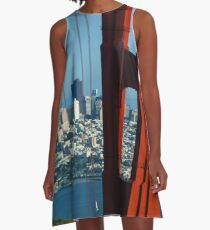 Iconic San Fransisco - Downtown Framed by Red Steel A-Line Dress