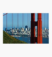 Iconic San Fransisco - Downtown Framed by Red Steel Photographic Print