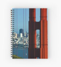 Iconic San Fransisco - Downtown Framed by Red Steel Spiral Notebook