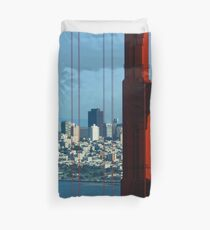 Iconic San Fransisco - Downtown Framed by Red Steel Duvet Cover