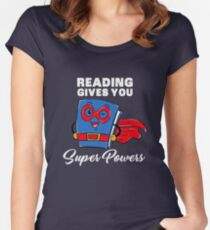 Reading Gives You Super Powers - Funny Super Hero Gift Women's Fitted Scoop T-Shirt
