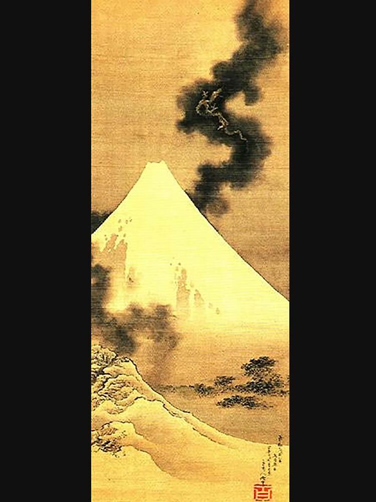 HOKUSAI, der Drache des Rauches, der vom Fujisan entgeht von TOMSREDBUBBLE