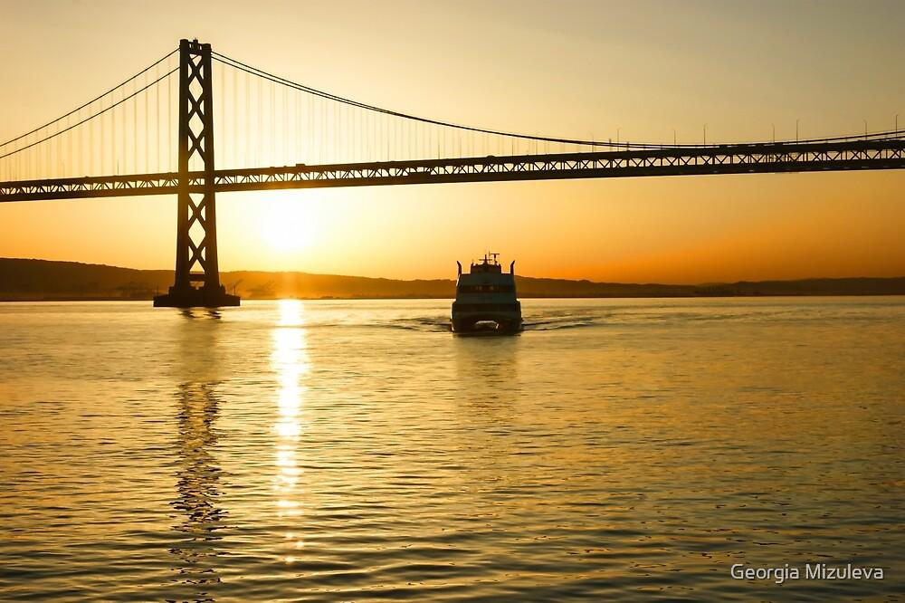 Golden Sunrise Ferry Ride Under the Bay Bridge in San Francisco by Georgia Mizuleva