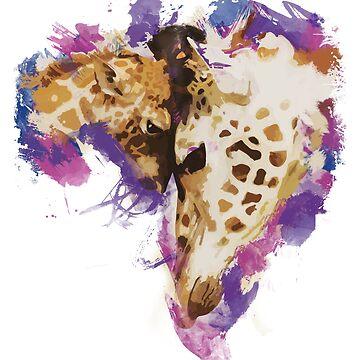 Cute Giraffe Love Painting by udesignstudio