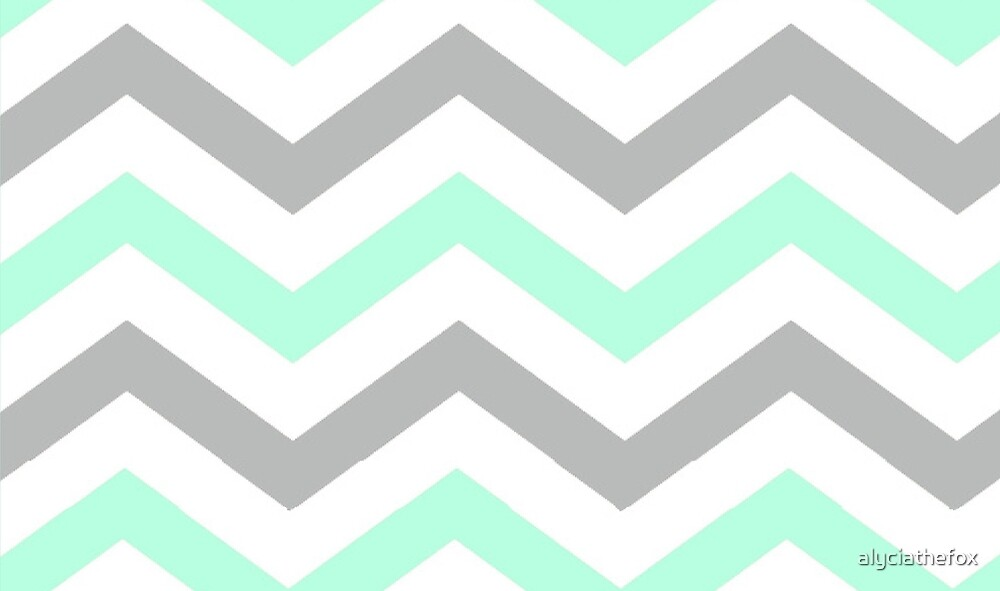 Quot Mint Grey And White Chevron Quot By Alyciathefox Redbubble