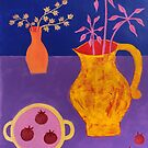 Purple still life with cherry tomatoes by natasa sears