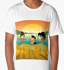 native indigenous dancing in the beach Long T-Shirt