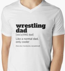 Wrestling Dad Definition T-Shirt | Funny Sports Shirts Men's V-Neck T-Shirt