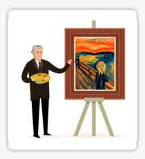 painter painting a expressionist man screaming Sticker