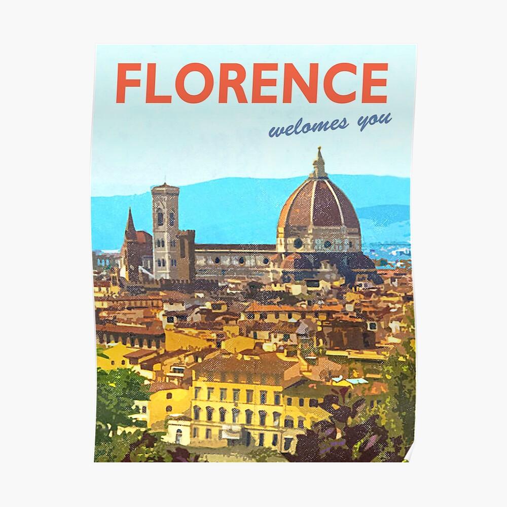 Florencia, Italia, cartel de viaje vintage Póster