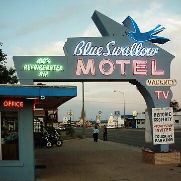 Blue Swallow Motel Dusk Tucumcari by spiritofroute66