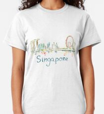 Singapore Panorama at night Classic T-Shirt