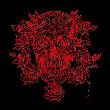 Skull & Roses by sandersart