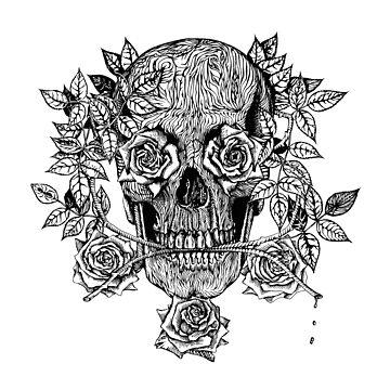 Psychedelic Skull & Roses by sandersart
