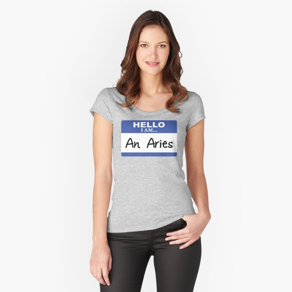 Hello I am an Aries Women's Fitted Scoop T-Shirt Front