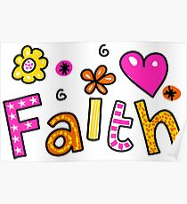 Faith Doodle Text Expression Poster