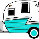 «Shasta Camper Vintage RV Old School Blue» de Statepallets