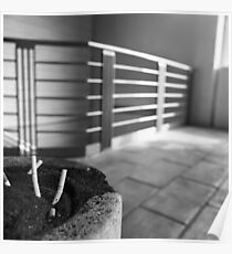 Concrete Ashtray Close Up Cigarette Butts  Poster