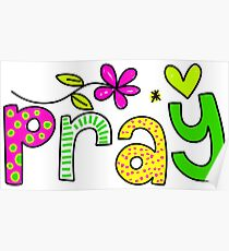 Pray Text Doodle Expression Poster