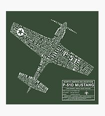 P-51 Mustang Typography Design Photographic Print