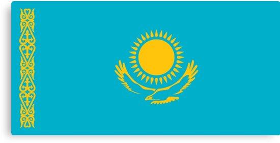 """""""Flagge von Kasachstan, Kasachstan Flagge"""" Leinwanddrucke ..."""